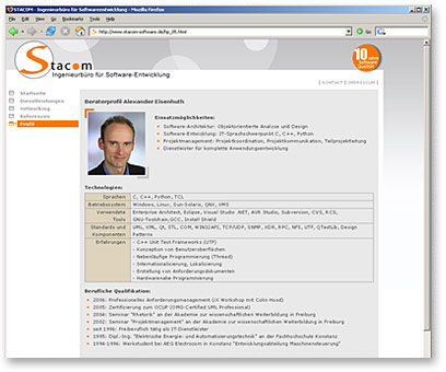 Screenshot www.stacom-software.de